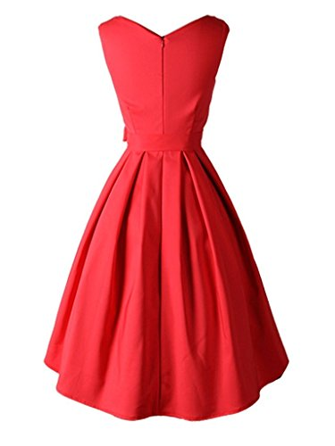 Peony Rot Druck Chest Kleid Eyekepper Swing Damen Vintage Wrapped 50'S TzwxxXqPO