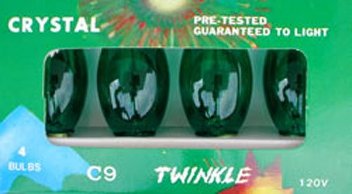 C-9 Green Transparent Replacement Bulbs for Twinkle Lights or Blinking -