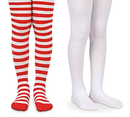 Jefferies Socks Girls Halloween Stripe Tight and Solid Nylon Tights 2 Pair Pack (6-18 Months, Red/White)