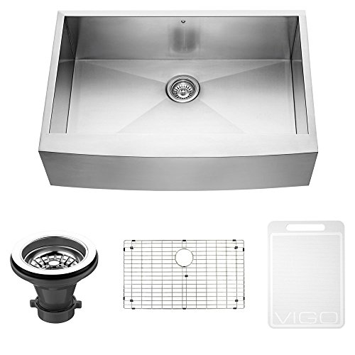 4in Undermount Bath Sink - VIGO 33 inch Farmhouse Apron Single Bowl 16 Gauge Stainless Steel Kitchen Sink with Grid and Strainer