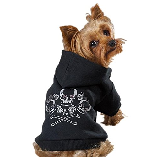 Zack & Zoey Crowned Crossbone Dog Hoodie with Skull & Crossbones and (Hooded Rhinestone)