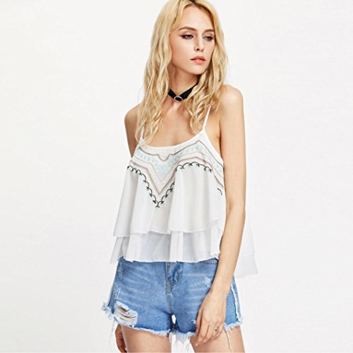 Manadlian - T-shirts Femmes Dentelle Crop Top Vest Tank Shirt Blouse Cami Top sans Manches Casual (Blanc, EU Taille: 34)