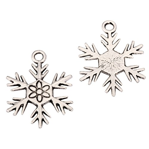 20 x Snow Flake Charms Beads 20mm Antique Silver Tone for Charms Bracelet Necklace Jewelry Findings #mcz1162