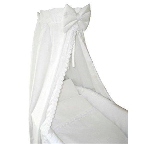 CRAVOG Babybett Himmel Weiß Betthimmel Kinderbett Chiffonhimmel Babybetthimmel 110x160 cm für Stubenwagen Babywiege