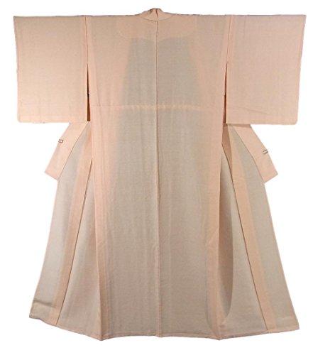 価格アラブ人電気リサイクル 着物 紬 ひとえ 無地 淡いオレンジ 裄64cm  身丈155.5cm 正絹