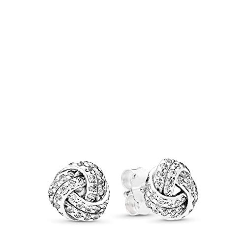 (PANDORA Sparkling Love Knots Stud Earrings, Sterling Silver, Clear Cubic Zirconia, One Size )