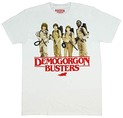 Hybrid Men's Stranger Things Shirt - Demogorgon Busters Distressed Photo T-Shirt (White, MD)