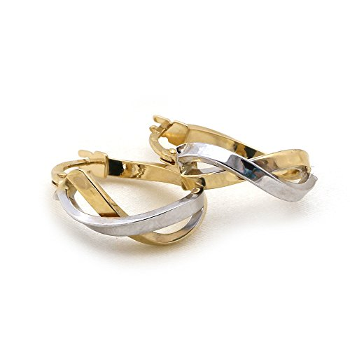 14k White and Yellow Gold 5.5mm Two-Tone Infinity Double Row Hoop Earrings - 0.7
