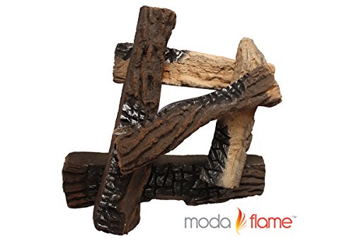 Non Vented Gas Fireplace (Moda Flame 5 Piece Ceramic Fireplace Wood Log)