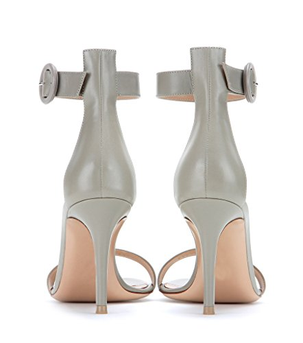 EDEFS Womens Open Toe Ankle Strap Sandals 80mm High Heel Summer Dress Shoes Grey n202q0DvCd