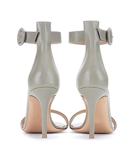 EDEFS Femme Chaussures Bout Ouvert Stiletto 8cm Talon Sandales à Bride de Cheville Gris azoXLOGy5f