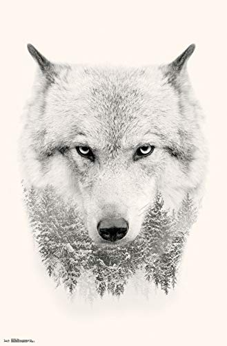 Trends International Wolf-Trees Mount Bundle Wall Poster 22.375