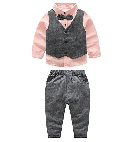 Baby Boys Gentleman Coat + Shirt +Denim Trousers Set Kids Clothes - 5