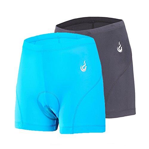 (beroy Women Quick Dry Cycling Underwear with 3D Padded,Gel Bike Underwear and Bike Shorts(Black+Blue XXL))
