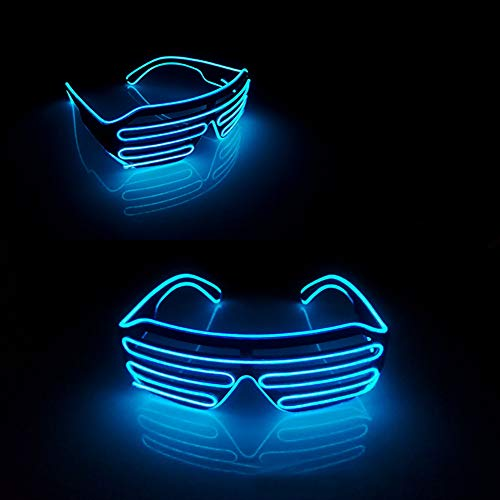 Party Concert EL Wire Flashing Light up Shutter Glasses Shades Eyewear Favor