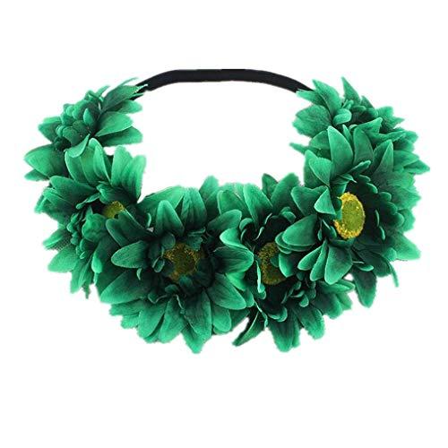 Simulation Hairband,FTXJ 1PC Halloween headband yak horn hair tiara headband hair hoop Headdress (Green, Sun flower)