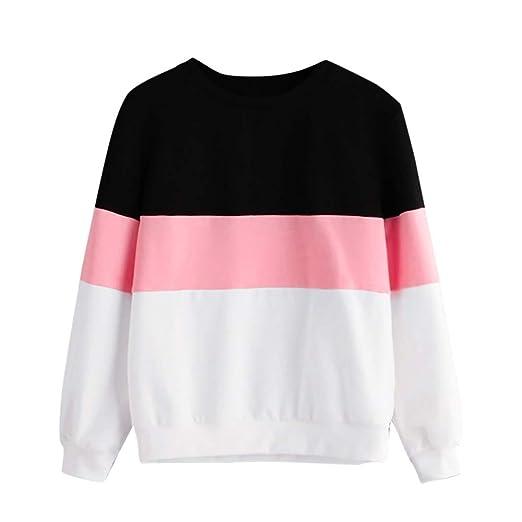 Overdose Manga Larga De Las Mujeres Corte Sew Pullover Stripe Top con Capucha Imprimir Fashion Lady Sweatshirt Blusa Casual: Amazon.es: Ropa y accesorios