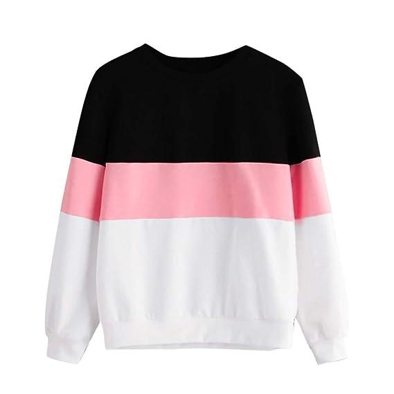 SHOBDW LiquidacióN Sudadera para Mujer Raya SóLida Bloque De Color Blusa Estampada Pullover OtoñO Invierno Tops