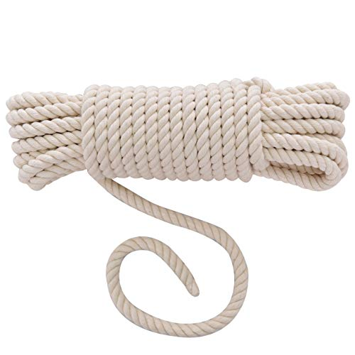 Handmade Decorations Natural Cotton Bohemia Macrame DIY Wall Hanging Plant Hanger Craft Making Knitting Cord Rope Natural Color Beige Macramé Cord (Beige, 10mm x 10m(About 11 yd)) (10mm Cord)