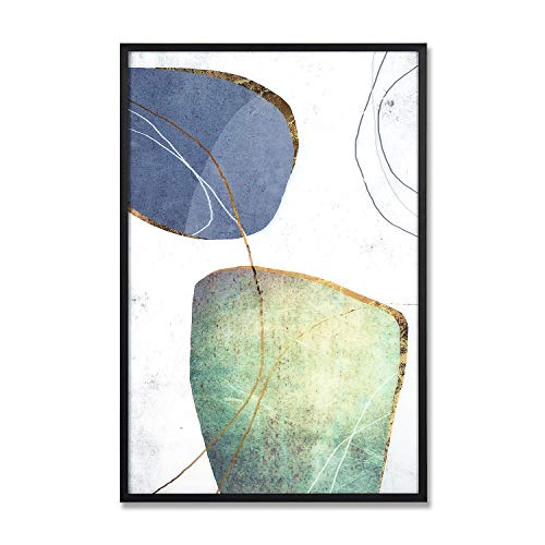 MOTINI Abstract Wall Art Blue Green Modern Wall Decor Slice Stone Artwork Paint Drips Style Acrylic Sheet Framed Paintings for Living Room, Bedroom, Office, 16 x 24 inch (Glass Art Framed Wall)