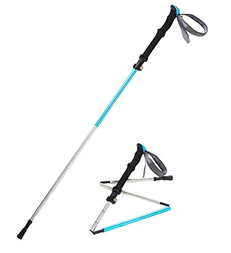 Pansel Folding 7075 Aluminum Alloy Travel Walking Hiking Trekking Pole, 1 Pack, Lake Blue