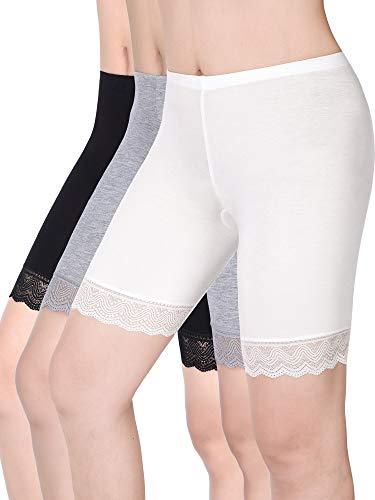 (3 Pieces Lace Shorts Leggings Safety Pants Stretch Short Underwear for Women and Girls (L Size))