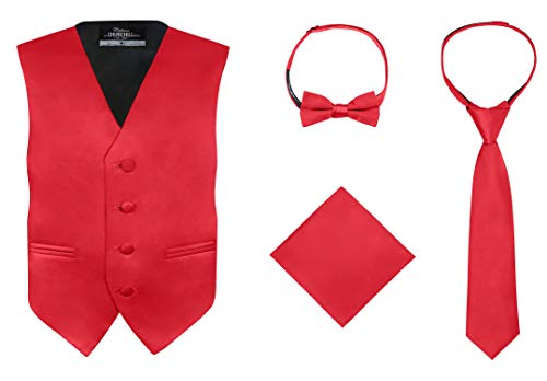 S.H. Churchill & Co. Boy's 4 Piece Vest Set, with Bow Tie, Neck Tie & Pocket Hankie, Red Size 16 ()