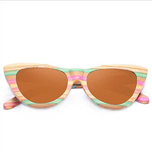 Sunglasses Gafas De Madera Sol Gafas A Sol Gafas Color De De Color Beach Sol Mujer Eye Polarized Rayas De Mano Gafas Hecho Protección Driving De De De UV Marrón C2 Cat Marco Sol wYnzqxpaCp
