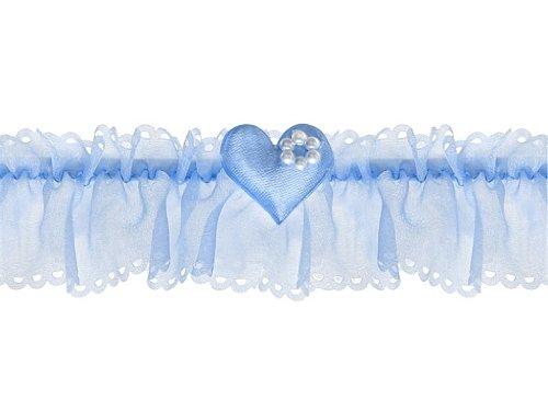 Jarreti/ère de mari/ée bleu petit c/œur et perles pour mari/ée mariage