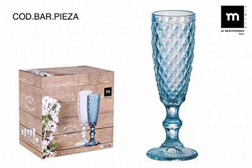 Set 6 Copas champange azul 175cc Sidari La mediterránea