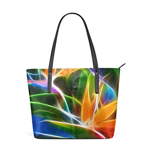 Ethel Ernest Womens Purse Colorful Bird Of Paradise Flower PU Leather Shoulder Tote (Bird Of Paradise Tote)