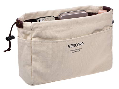 Vercord Canvas Handbag Organizers Sturdy Purse Insert Organizer Bag in Bag 13 Pockets Beige Small (Sturdy Insert Purse)
