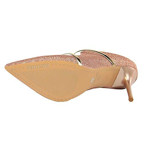 Verano Zapatillas Zapatos Cool Club Tela Rosado De Lentejuelas Sexy Xiaoqi Finos Americana Nocturno Tacón Palabra Alto Con q7Fwx6t
