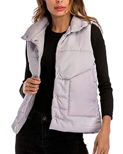 無力リラックスした妨げるmaweisong レディーススタンドカラー冬暖かいキルトパッド付きジャケットベスト