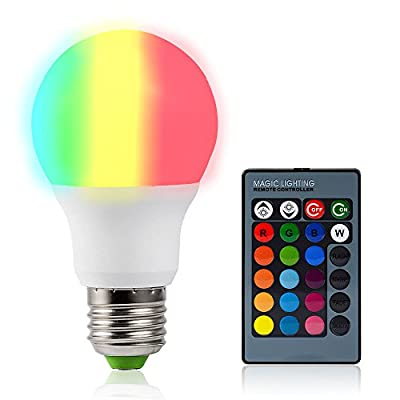 Dimmable Light Bulbs 7W High Brightness White Light RGB Color Changing LED Bulb with 24 Key Remote Conteroller for Table Lamp,Wall Lamp