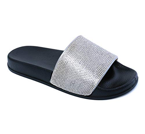 - Omgard Slides for Women, Black Glitter Sandals with Rhinestone, Woman Slipper Slip On Cute Outdoor and Indoor Soft Flat Size 7, Ladies Summer Comfort House Shoes Open Toe with Arch Support