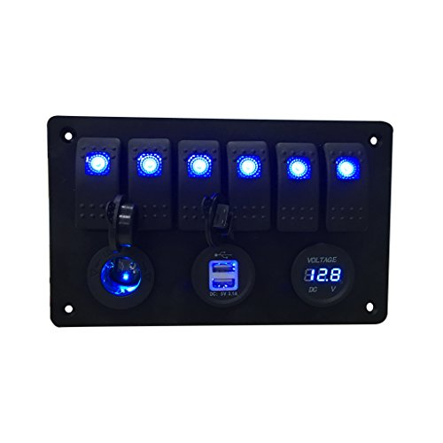 Iztoss Digital Voltmeter+12V power Socket +Double USB Power Charger Adapter aluminum Flush Mount blue 6 gang rocker switch Panel Black RV Car Boat