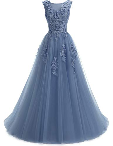 Ever Girl Women's Sweep Lace Appliques Scoop Collar Tulle A-Line Prom Dresses Blue US14