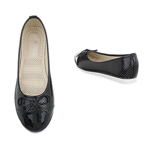 para Bailarinas Zapatos Bailarinas Design clásicas Negro mujer Ital Plano drEwqERf