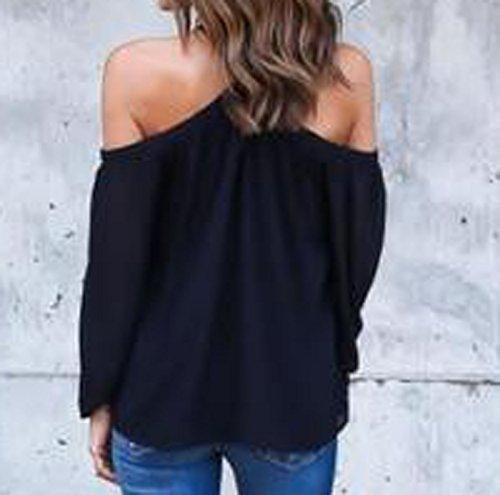 Tops Mousseline Epaule Longues JackenLOVE Chemisiers Chemises Femme en Haut Noir Blouse Nue Vrac Manches Sexy waxHPqIB