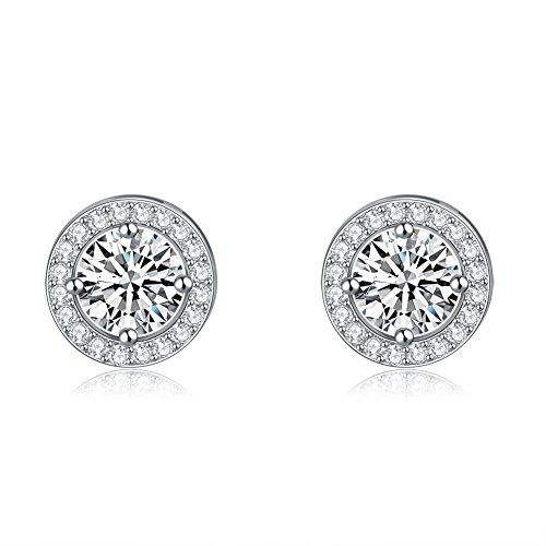 - UPRIMOR Jewelry Women's Clear Stimulated Diamond AAA Round Cut CZ 4 Prong Platinum Plated Stud Earrings 8mm