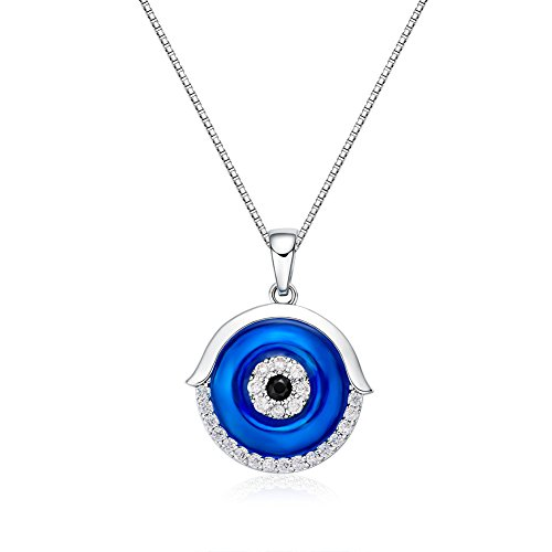 Evil Eye Necklace CZ Rhodium Plating Navy Blue Fashion Jewelry, Lucky BFF Anniversary Gift for Women, 18""