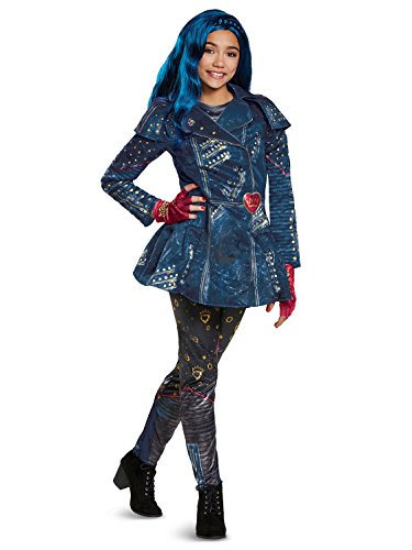 Disguise Evie Deluxe Descendants 2 Costume, Blue, Medium (7-8)