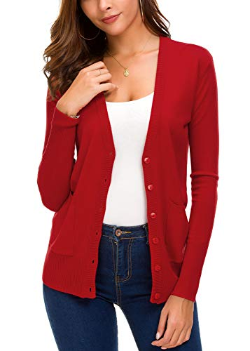 Women's Front Cardigan Button Down Knitted Sweater Coat with Pockets (M, Red)