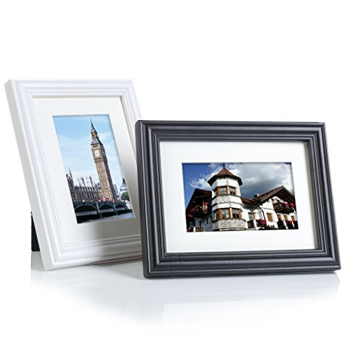 BesideTree 2 Pack 6x8 Solid Wood Picture Frames Black and White - Display Pictures 4x6 with Mat or 6x8 Without Mat for Wall & Tabletop - Wall Mounting Material Included