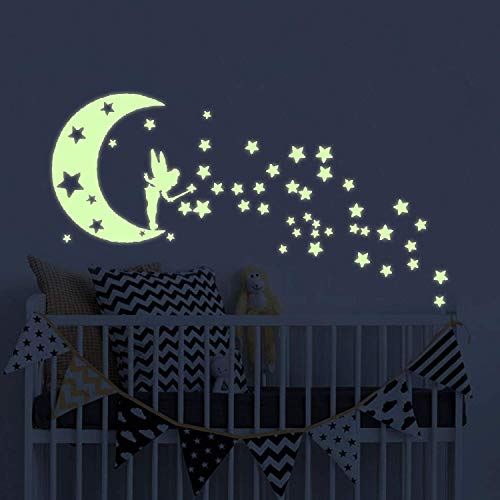 - Moon Glow in The Dark Wall Stickers, Fairytale Fairy Glow Stickers and Stars Wall Decals Vinyl Design for Nursery Room DIY Mural Decoration