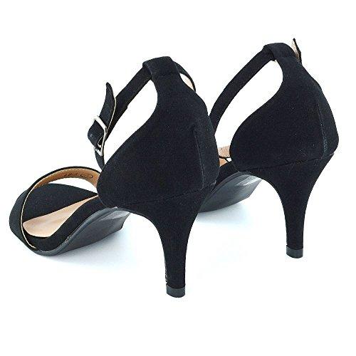 Essex Glam Donna Tacco Basso Scarpe Open Toe Appena Là Sandali Cinturino Alla Caviglia Nero Pelle Scamosciata Finta Pelle Scamosciata