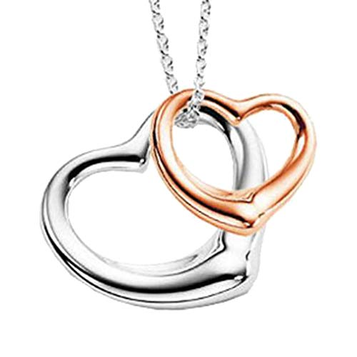 Double Heart Pendant Open Your Heart Necklace Rose & White Gold Plated for Birthday Christmas (Pendant Open Double Flower)