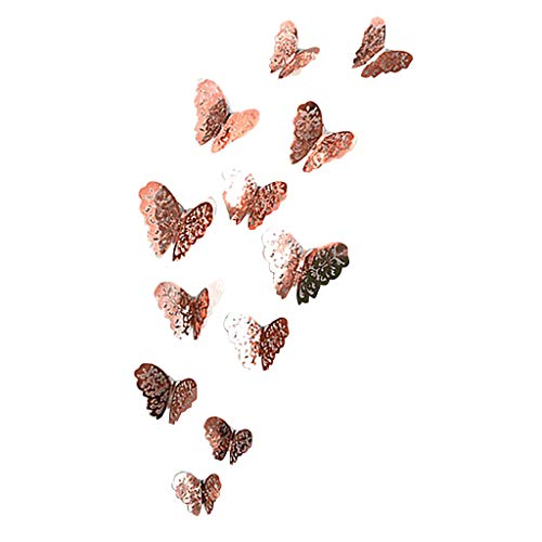 charmsamx 12 PCS Wall Decal Butterflies, Wall Sticker Decals Colorful Butterflies Wall Stickers 3D DIY Art Decor Craft for Room Home Nursery Decor Magnets and Glue Sticker Set (A) ()