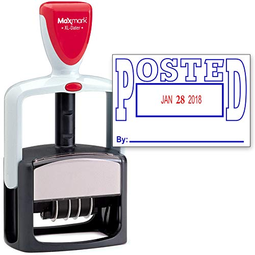 (2000 Plus Heavy Duty Style 2-Color Date Stamp with Posted self Inking Stamp - Blue/Red Ink)